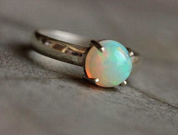 Ethiopian opal ring - Natural Opal Ring - Gemstone Artisan ring - October birthstone -Prong - Gift for girlfriend - Christmas gift ideas on Etsy, $125.00