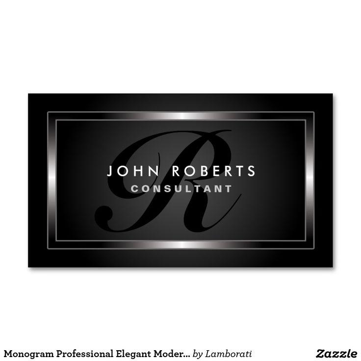 Monogram Professional Elegant Modern Black Double-Sided Standard Business Cards (Pack Of 100)
