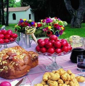 The table is set for a Greek Easter feast.