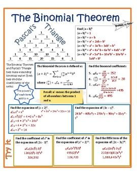 Students learn how to expand binomials using Pascal's Triangle and the Binomial Theorem. Doodle notes are a great way to activate the creative side of the brain while learning material that often just uses the logical side. Hand students a copy of the notes sheet (page 2), break out the colored pencils and gel pens and let the fun begin!
