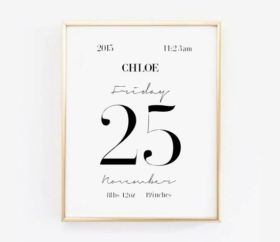 Personalized Birth Stats for babies-Custom Baby Birth Announcement Print-Girls or Boys Nursery Art-Minimalist Nursery Wall Decor-Affiche Scandinave
