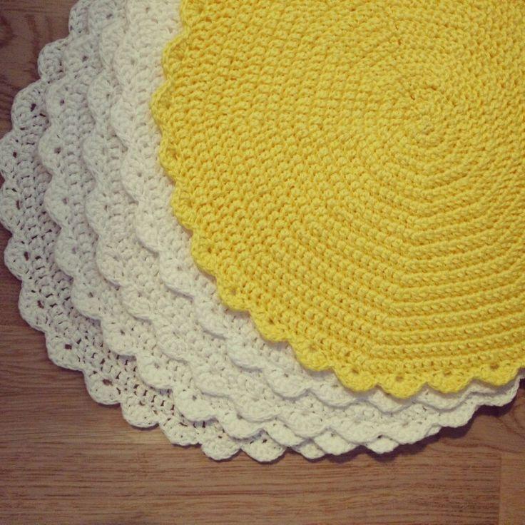 White and yellow crochet kitchen decoration