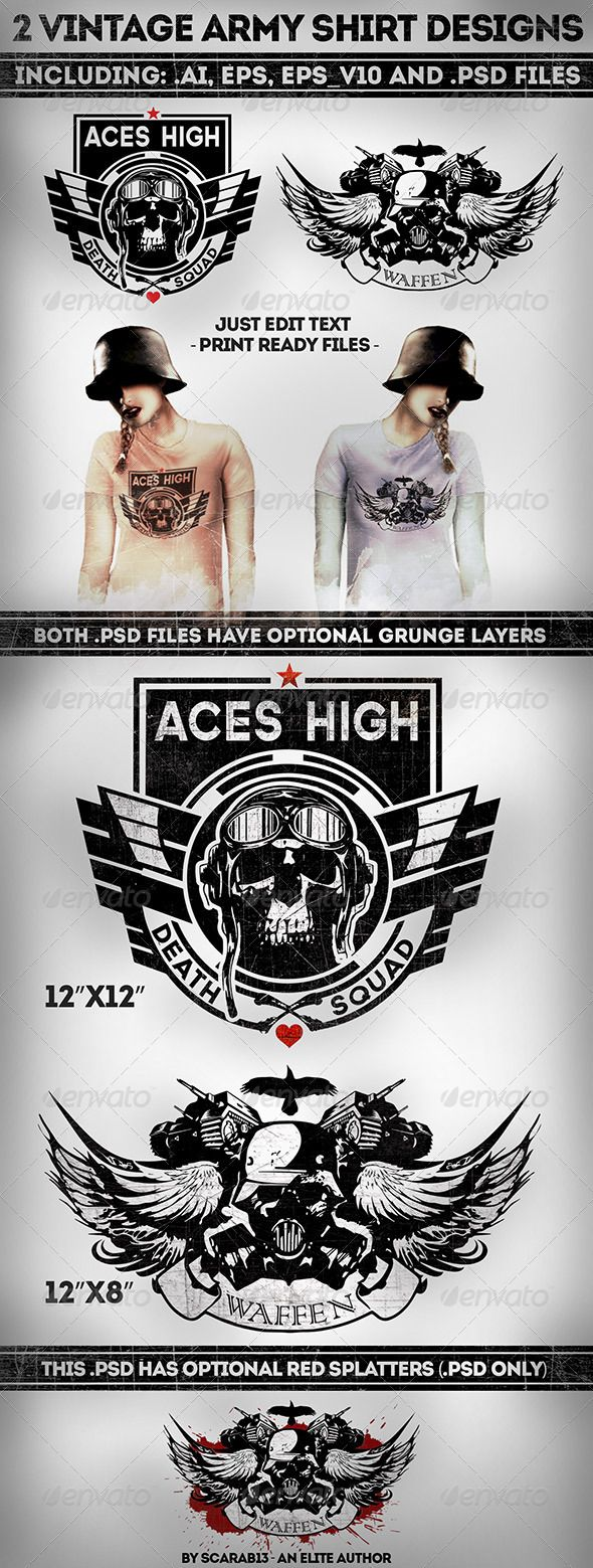 2 Military Vintage T-Shirt Designs Template PSD, Vector EPS, AI. Download here: http://graphicriver.net/item/2-military-vintage-tshirt-designs/7492608?ref=ksioks