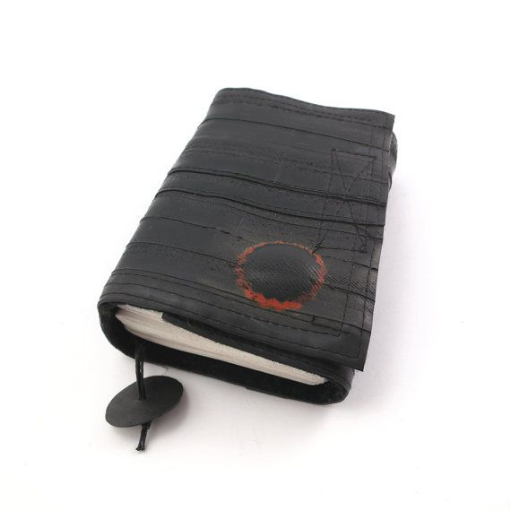Recycled journal bike inner tube blank pages black by palepink