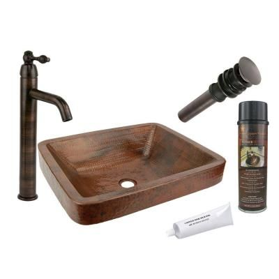 Premier Copper Products All-in-One Rectangle Skirted Vessel Hammered Copper Bathroom Sink in Oil Rubbed Bronze-BSP1_VREC19SKDB - The Home Depot
