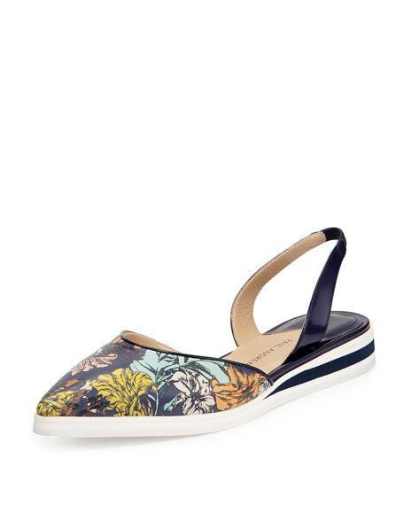 PAUL ANDREW Floral-Print Leather Slingback Flat, Twilight Botanica. #paulandrew #shoes #