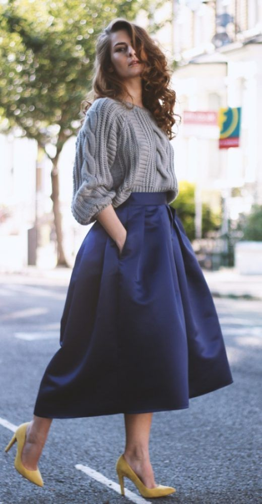 chunky sweater with silk full skirt