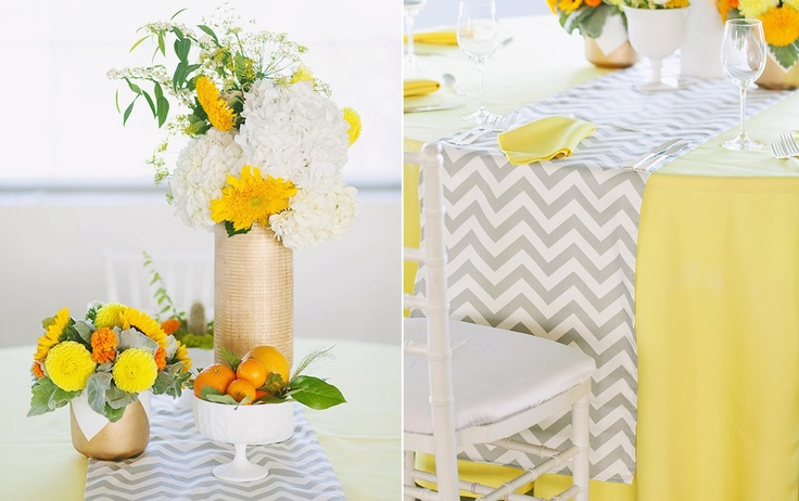 Gray/White Table Runner www.lovedoveweddings.com - floral by Bows + Arrows
