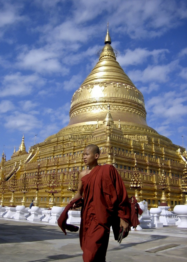 Picture of the Day: The Shwezigon Pagoda or Shwezigon Paya is a Buddhist temple located in Nyaung-U, a town near Bagan, in Burma (Myanmar).    It is a prototype of Burmese stupas, and consists of a circular gold leaf-gilded stupa surrounded by smaller temples and shrines.    Image Credit: Seth Lieberman