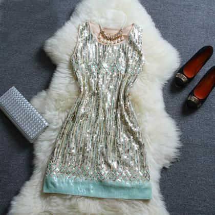 Fashion beaded sequined striped ves..