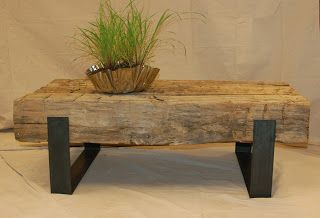 Studio50: studio50 HAUS 180 year old hand hewn beams with steel cradle base coffee beam table