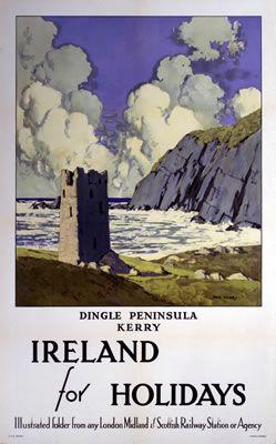 Ireland // Dingle Peninsula Kerry Vintage Rail Poster