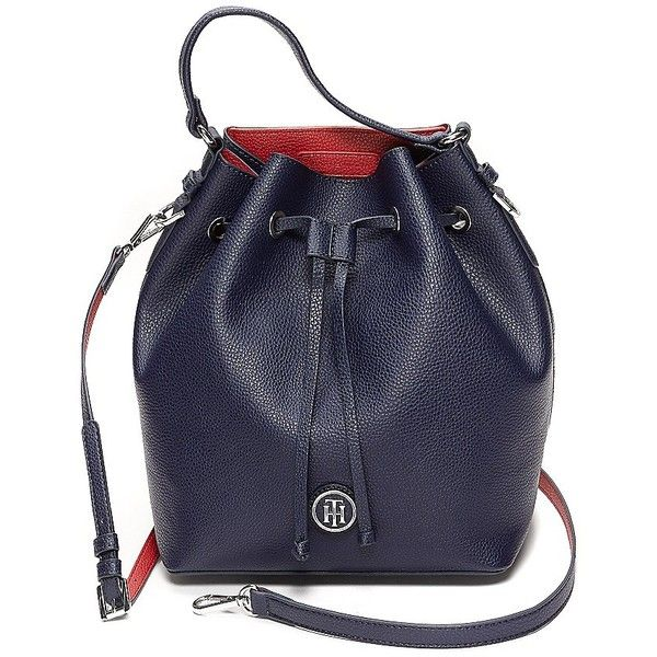 Tommy Hilfiger Drawstring Bucket Bag ($65) ❤ liked on Polyvore featuring bags, handbags, shoulder bags, tommy hilfiger, blue purse, pvc purse, drawstring handbag and blue handbags