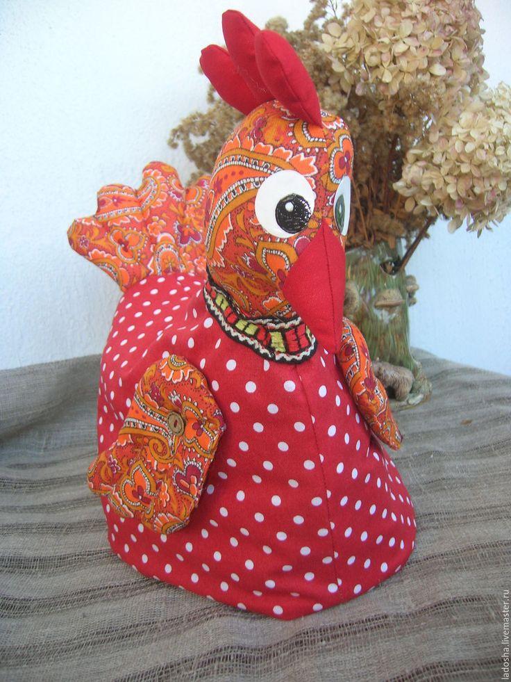 Купить Грелка на чайник Курочка Горошка - ярко-красный, красный, грелка на чайник, курица, курочка