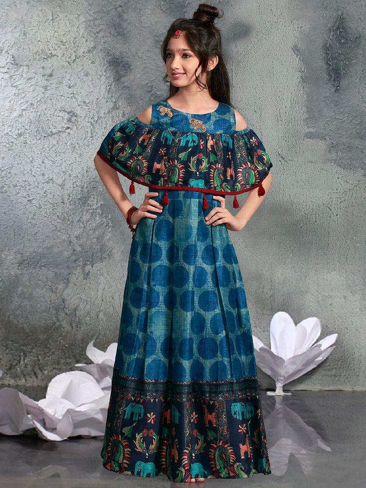 Festive Wear Blue Gown, blue color, festive wear, girls fashion, party wear