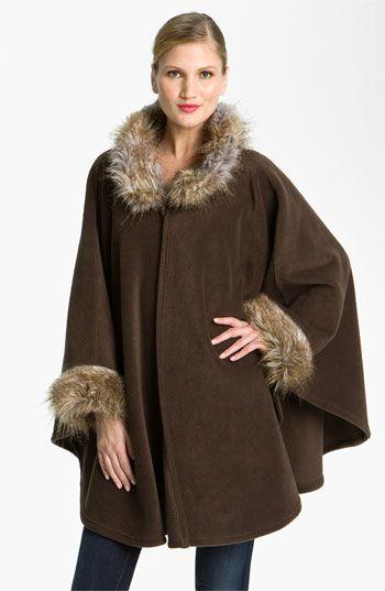 Parkhurst 'Desmona' Faux Fur Trim Ruana available at #Nordstrom