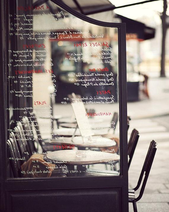 Paris Cafe Menu Seats outside Paris