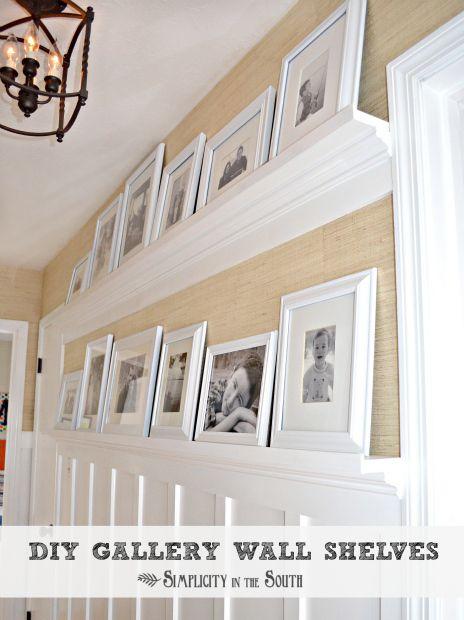 Great idea for a long hallway - DIY gallery wall shelves