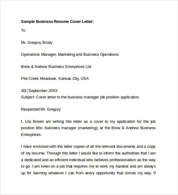 sample business cover letter free samples examples format basic - sample business manager job description