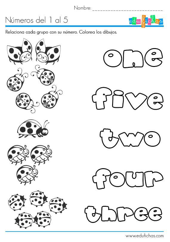 Ficha de los números del 1 al 5 en inglés. Descarga hojas de trabajo en inglés. Fichas educativas para aprender ingles. Numbers one to five worksheet.