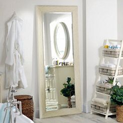 White Shabby Chic Full Length Mirror, 33x79 in.