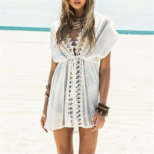 New Arrivals Beach Cover up Rayon White Swimwear Ladies Robe de Plage Swimmsuit Tunics For Beach Bikini Wrap Dress Sarong #Q33