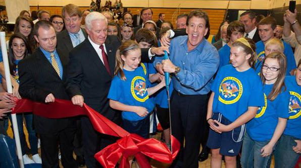 Jake Steinfeld celebrates the opening of a Live Positively fitness center for kids, created with funding from Coca-Cola #AdobeEduSweeps