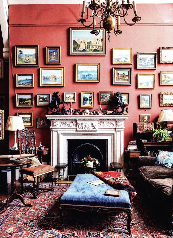 Oh do I love this whole living space. Sitting room of artist Julian Barrow, London. via World of Interiors.