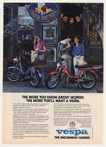 Piaggio Vespa Grande Moped Cheese Boutique (1980) ad.