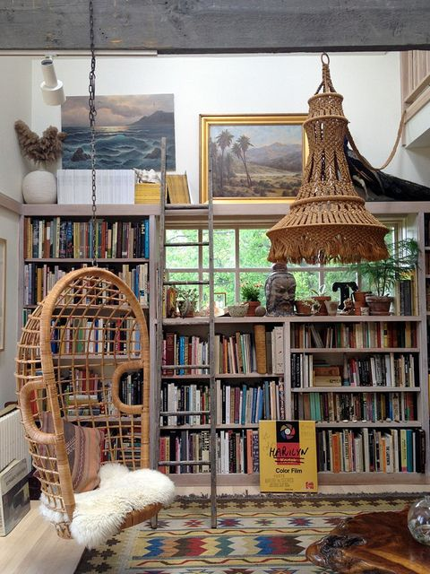 Swing chair and books