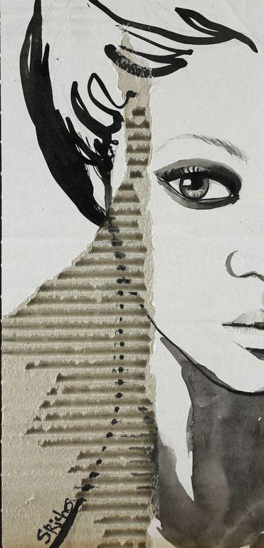 """Saatchi Online Artist: Sara Riches; Ink 2014 Drawing """"Portrait on Cardboard"""" #art"""