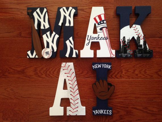 Custom Hand Painted New York Yankees Letters Baseball Team