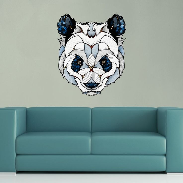 """- Product: panda head wall sticker - Sizes: S-12.7""""w x 15""""h; M-15""""w x 17.8""""h; L-30""""w x 36""""h - Colors: blue, white, grey, rust, black, gold, tan - Style: highly-detailed, colored illustration - Materia"""