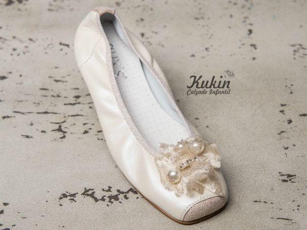bailarinas-comunion-guxs zapatos-ceremonia-niña comunion - calzado infantil - moda niña - zapateria infantil online - bailarinas ceremonia niña - zapatos niña - moda infantil - kukin calzado infantil - ballet - beige - zapatos comunion