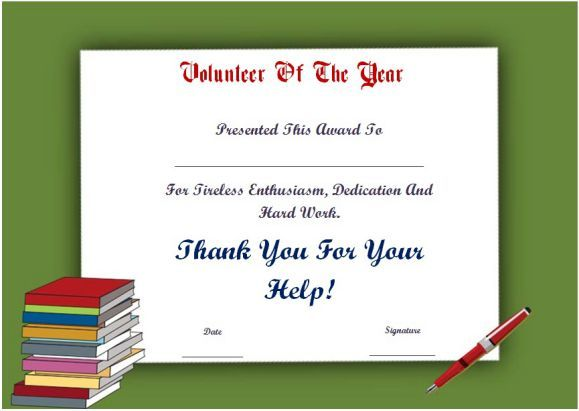 Student Volunteer Of The Year Award Certificate Certificate Templates Certificate Template Awards Certificates Template