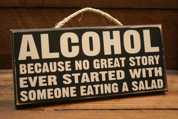 Alcohol Sign - Funny painted sign door art decor. $18.00, via Etsy.