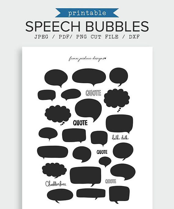 This pack of chalkboard speech bubbles includes 28 printable journal stickers (22 speech/thought bubbles and 6 words). The planner stickers come in a variety of sizes (see attached image for detail) and are on one US Letter sized page (which is also suitable for A4 printing). Chalkboard Speech Bubble Printable Journal Stickers | Bullet Journal Stickers| Printable Planner Sticker| Thought Bubble| Decorative Sticker