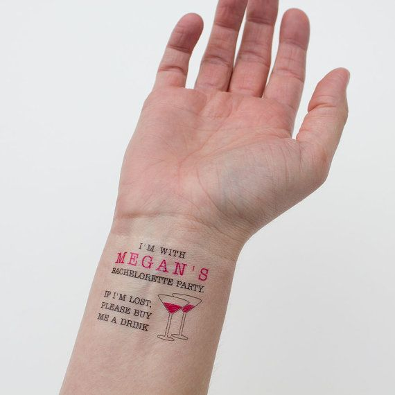 If lost buy me a drink temporary tattoos bachelorette for Fake name tattoos