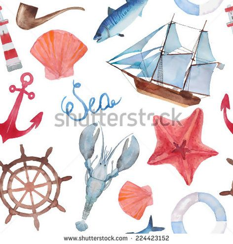 Watercolor sea navigation seamless pattern Hand painted sea life texture with starfish, anchor, lobster, ship, shells and fish