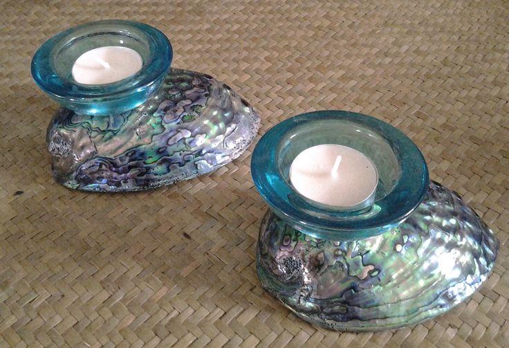 Paua candleholders