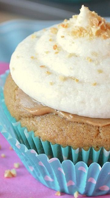 Peanut Butter Cupcakes with Banana Buttercream Frosting