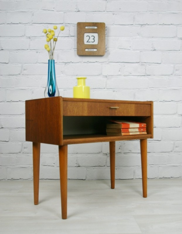 Retro Style Container Bedside Table: Retro Vintage Danish Teak Midcentury Coffee Bedside Table