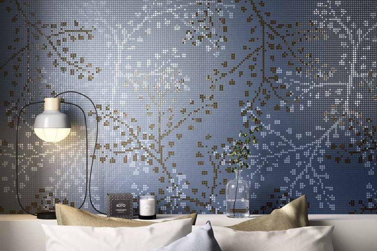 Mosaico+ Decor Collection - Gypso Blue  #mosaicopiu #glassmosaic #mosaico #bedroom #bed #wall #walldecor #interior #interiordesign #decoration #design #madeinitaly