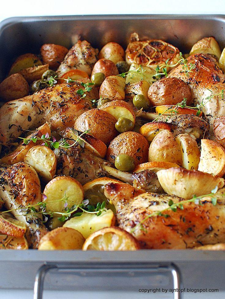 Cytrynowy kurczak pieczony z oliwkami, czosnkiem i ziemniakami