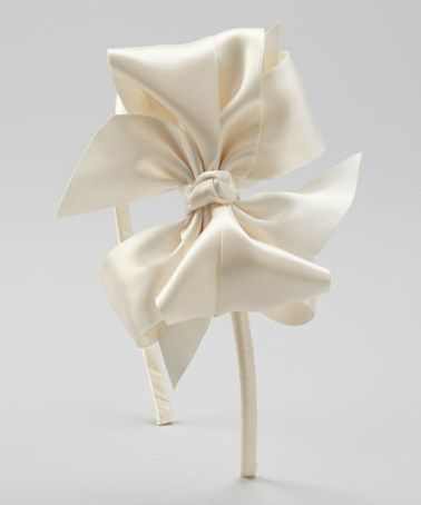 Take a look at this Ivory Satin Bow Headband by Picture Perfect Hair Bows on #zulily today!
