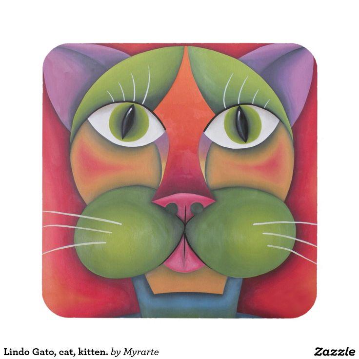 Lindo Gato, cat, kitten. Producto disponible en tienda Zazzle. Decoración para el hogar. Product available in Zazzle store. Home decoration. Regalos, Gifts. Link to product: http://www.zazzle.com/lindo_gato_cat_kitten_beverage_coaster-163633528573469088?CMPN=shareicon&lang=en&social=true&rf=238167879144476949 #posavaso #coaster #cat #gato #kitten