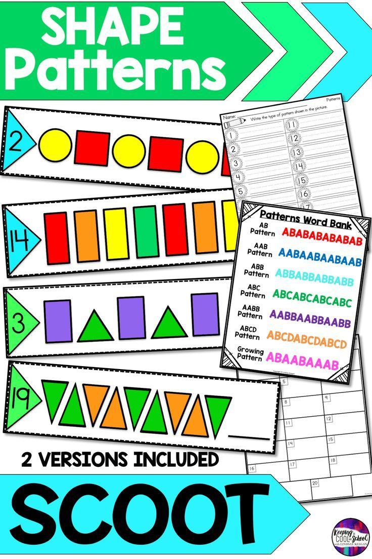 Shape Patterns Scoot Write The Room Activity Teaching Grade First Grade Worksheets Fun Math Activities [ 1104 x 736 Pixel ]