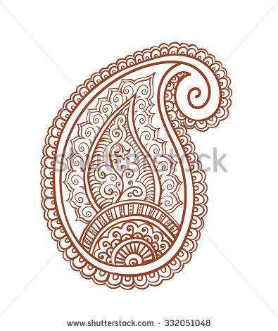 Indian paisley - decorative henna design (India). Mendi vector, ornamental style - stock vector