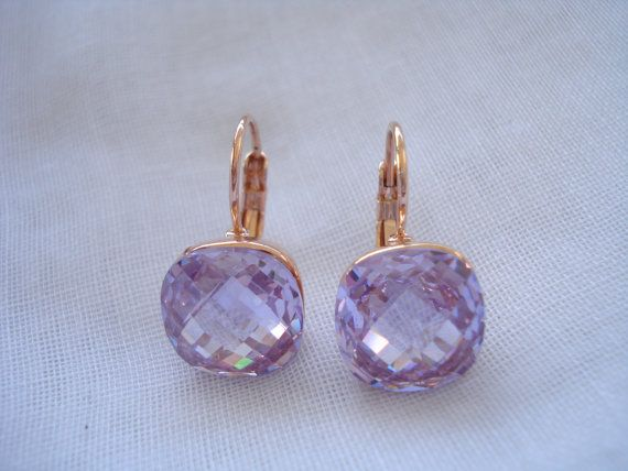 Amethyst crystal drops Crystal drop earrings Square by Poppyg
