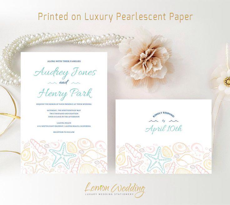 Beach Wedding Invitation Sets Printed on Shimmer Paper | Personalized Wedding Invitations and RSVP Postcards | Cheap wedding invitations by LemonWedding on Etsy https://www.etsy.com/uk/listing/240982290/beach-wedding-invitation-sets-printed-on